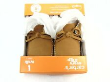 New Carter's Every Step Girl's Khaki Moccasin Shoes Sz 6, 12-18M, Stage 3 Walk