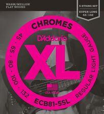 D'Addario Cuerdas bajo Eléctrico Chromes Flatwound 5-String ECB81-5SL