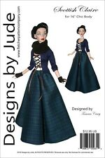 "Outlander Scottish Claire Doll Clothes Sewing Pattern for 16"" Chic Body Tonner"