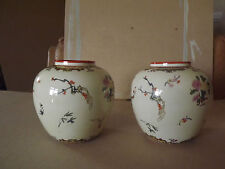 ANTIQUE PAIR OFCHINA VASES OR JARS H.M ENGLAND ORIENTAL STYLE JAPAN DECORATION