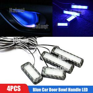 4X Carbon Fiber Blue Car Door Bowl Handle LED Ambient Atmosphere Light