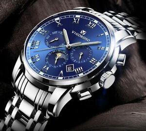 Mens Luxury Stainless Steel Wrist Watch Quartz Analogue Date Waterproof Business