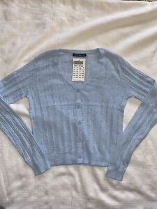 Brandy Melville pastel blue eyelet button up Shannon cardigan sweater NWT sz S