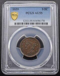 1855 Braided Hair 1/2 Cent (Half Cent) PCGS - AU55