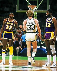 NBA Magic Johnson Lakers Larry Bird Celtics RESPECT Color 8 X 10 Photo Picture