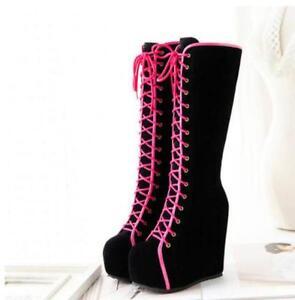 Womens High Platform Wedge Heels Roman Goth Punk Boots Lace Up Knee High Boots