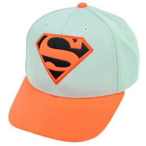 Superman Man of Steel Grey Neon Orange Snapback Hat Cap Super Hero Movie Comics