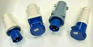 63Amp 3 Pin Blue 240V 2P+E IP67 Waterproof 3 Phase Socket Plug Appliance Inlet