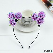 Women Girls Rose Flowers Cute Cat Ear Headband Party Costume Hair Hoop Popular