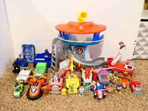Paw Patrol Lookout Tower w/ Sound Badge Vehicles & Pups & Ryder HUGE Lot