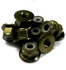 102049BR 1/10 RC Car Alloy M4 4mm Thread Nylon Lock Nuts x 10 Brown Flanged