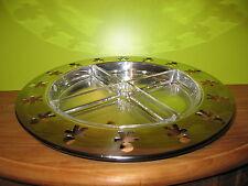 ALESSI *NEW* Plat hors-d'oeuvre rond inox 4 coupelles en verre d.38cm h.3,4cm