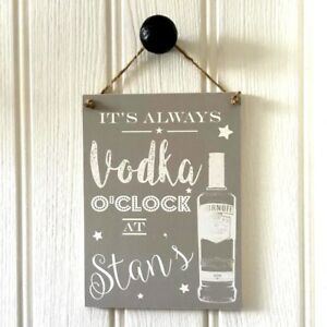 Grey Personalised VODKA Sign Housewarming New Home Gift Man Cave Fathers Day
