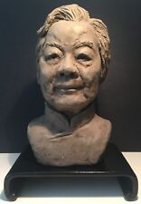 CHINESE PORTRAIT TERRACOTTA CLAY SCULPTURE WITH SIGNED AND SEALED.  1991