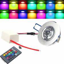3W RGB Color Change LED Romote Recessed Ceiling Lamp Spot Down Light+Controller