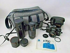 Minolta X-700 35mm SLR Camera 50mm F/1.7 and F/1:4.5 80-200mm-Case-Bag-MINT