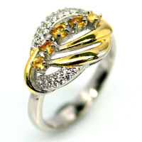 NATURAL YELLOW SAPPHIRE & WHITE CZ TWO TONE RING 925 SILVER STERLING SZ7