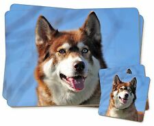 Red Husky Dog Twin 2x Placemats+2x Coasters Set in Gift Box, AD-H68PC