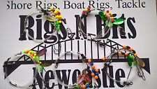 5 Sea fishing Rigs - 2 hook flappers - Flounder, Plaice, Dab, Turbot, Sole, SZ1