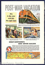 1947 GREAT NORTHERN Railway advertisement, Empire Builder diesel engine