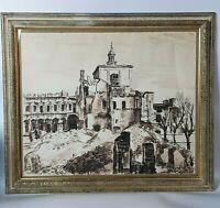 Carlo VITALE (1902-1996) QUADRO dipinto Acquerello Paesaggio Veduta China 1946