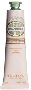 L'Occitane Almond Velvet Hands SPF15 sunscreen hand cream 75ml 2.6oz new amande