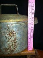Antique Tin Ware Pot with lid - holes in bottom Primitive Farm Kitchen -Boiler?