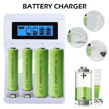 4 Slot AA AAA USB Battery Charger Mains Smart for NiCd NiMh Rechargeable White