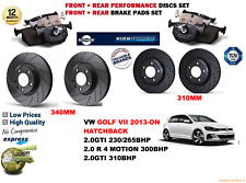 FOR VW GOLF 2.0 VII HB 13- FRONT & REAR PERFORMANCE BRAKE DISCS SET + PADS KIT
