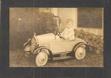 VINTAGE REAL-PHOTO POSTCARD: YOUNG BOY DRIVING TOY PEDAL CAR IN FLORIDA, c.1900s