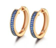 Yellow gold finish blue sapphire double row hoop earrings 3 DAY HALF PRICE SALE