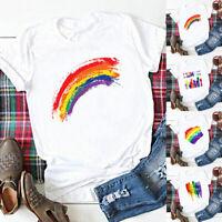 Men Women Modal T Shirts Blouse Tee White Short Sleeve Rainbow Tops Plus Size US