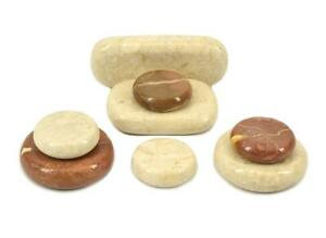 MassageMaster Cream & Red Marble: 8 Stone Cold Stone Set