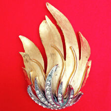 Gold Tone Flame Rhinestone Brooch Vintage 1940's Art Moderne Art Deco