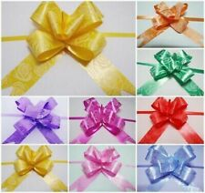 50 X LARGE Ribbon Bows MULTI 10 COLORS easy pull flower ribbon party decorations