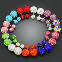 12X women Bling Double Side Two Ball Stud Earrings Rhinestone Clay beads crystal