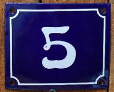 Vintage Style Blue Enamel Porcelain French House Number Door Steel Metal Sign 5