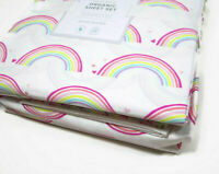 Pottery Barn Kids Multi Colors Organic Cotton Rainbow Hearts Queen Sheet Set New