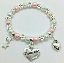 FLOWER GIRL Wedding Adult kids charm bracelet inc gift bag 30+ colour choice