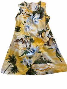 Kys Hawaïen Robe Fille Faux Enveloppant Coton Sz 4 Déguisement Plage Aloha Coco