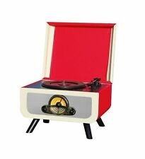 Steepletone Rico Retro Turntable - Red/Cream Record CD Player Radio USB 1960's