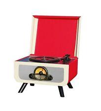 Steepletone Rico Retro Turntable - Red/Cream Record CD Player Radio USB 1960's