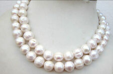 """HUGE 35"""" 11-12MM WHITE BAROQUE freshwater PEARL NECKLACE"""