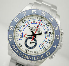 Rolex YACHTMASTER II 116680 Mens Steel Blue Ceramic Bezel White Dial 44MM