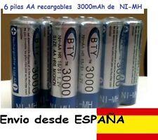 6 bateria recargables AA de 3000mAh pila de NI-MH 1,2V. DESDE ESPAÑA