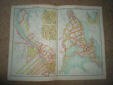 c1900 Map QUEBEC & ONTARIO ~ J Bartholomew From XXth Century Citizens Atlas
