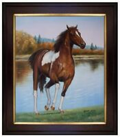 Framed, Horse Lakeside Galloping, Hand Painted Oil Painting 20x24in