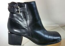 White Mountain Ankle Boots Women's Size 8 M Black Leather Chunky Heel