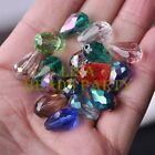 New 20pcs 16X10mm Faceted Teardrop Crystal Glass Spacer Loose Beads Random Mixed