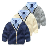 Fashion kids Boys 100% Cotton Cardigan Children's School Knit Cardigan 2-8 Y